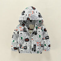 Cartoon Black And White Conversation Print Coat