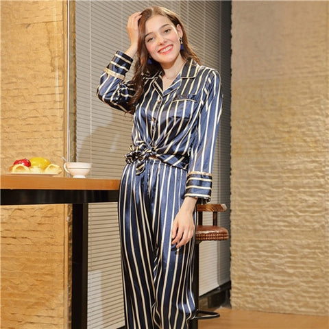 Striped Knot Hem Pocket Button Trim Top And Longline Pants