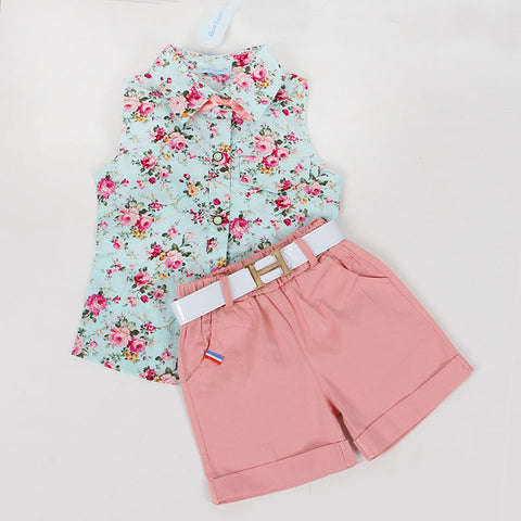 Fashion Sleeveless Summer Style Shirt + Shorts + Belt 3pcs