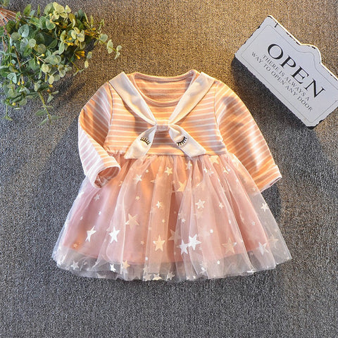 Dress Autumn 2019 New Baby Ball Gown Tie Stripe