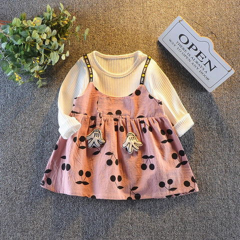 Princess Cotton Long Sleeve Stitching Sling Dress