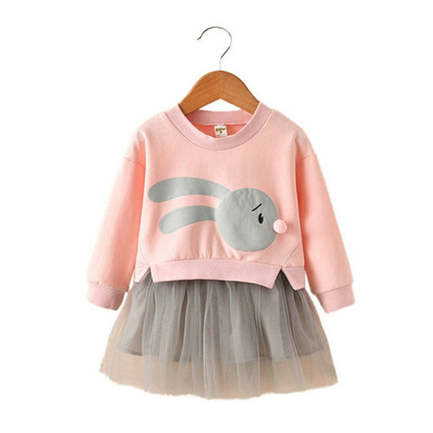 New Ball Gown Long Sleeve Rabbit Print Dress