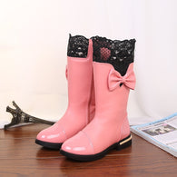 Bow Lace Warm Boots with Fur Plush