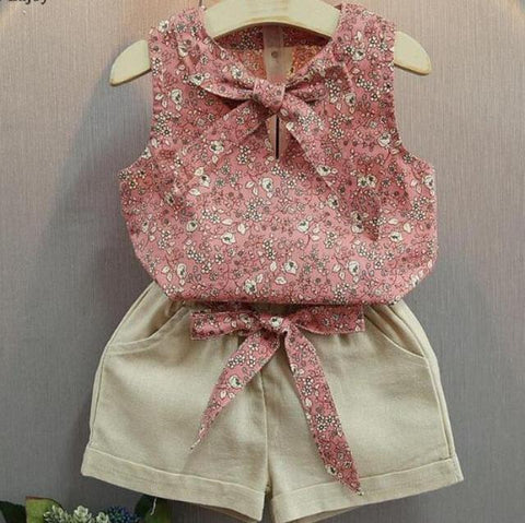 Summer Set Bow Floral T Shirt + Shorts