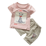 Short Sleeve Cartoon Giraffe Letter Printing T-shirts Tops + Shorts