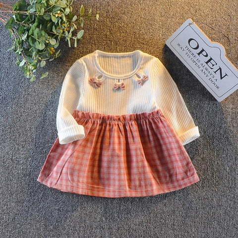 New Bow Long Sleeve Colorblock Plaid Cotton Dress