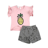 Set Butterfly Sleeve Pineapple Print T-shirts + Shorts