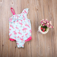 Lovely  Flamingo Ruffles One Piece Swimsuit For Girls