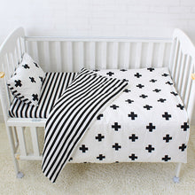 Baby Bedding Set Cotton Crib Sets Black White Stripe Cross Pattern Baby Cot Set