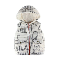 Print Winter Warm Vest Coats For Girls
