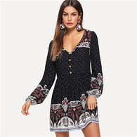 Black Tribal Print Button Half Placket Dress