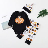 Pumpkin Letter Long Sleeve Romper + Trousers + Hats 3PCS