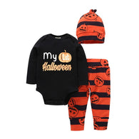 Long Sleeve Letter Pumpkin Print Shirt + Trousers 2PCS Suit