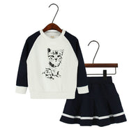 Cat Long Sleeve Print Set Pleated Skirt Sweater 2PCS Toddler Suit
