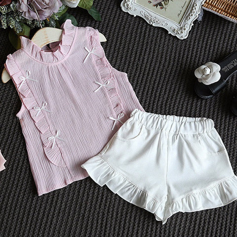 Clothes set Design Wrinkle Cotton T-shirt + Shorts\