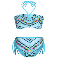 Glittery Geometric Pattern Swimming Swimsuit