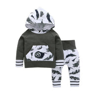 Feather Long Sleeve Hooded Sweater  +Trousers Casual Suit