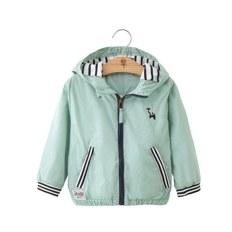 Stripe Hooded Zipper Long Sleeve Windbreaker