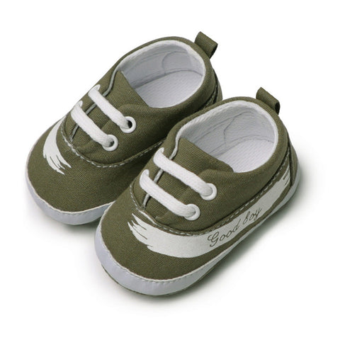 Canvas Letter Crib Shoes Soft Sole Anti-slip