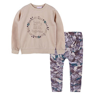 New Long Sleeve Letter Cotton Top + Trousers Print 2PCS