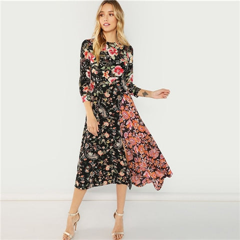 Multicolor Flower Print Asymmetric Hem Dress