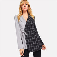 Two Tone Tie Waist Wrap Asymmetrical Jacket