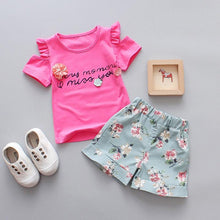 2 Piece Set Girl Costume Cotton Sweet Flower