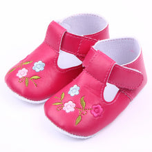 Baby Girls Vintage Classic Floor Shoes PU Flowers Non-Slip Soft