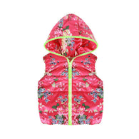 Cute Floral Print Costume Hood Sleeveless Zipper Vest