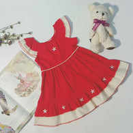Red Star Embroidery Princess Dress for 1-6Yrs