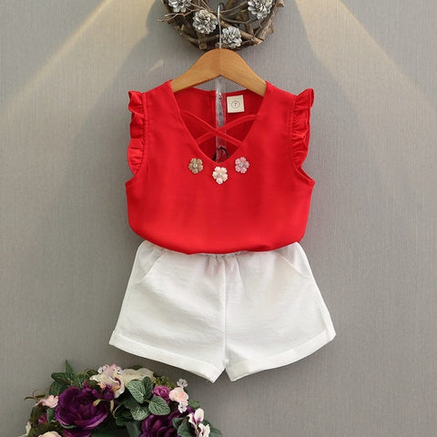 Flowers Set sleeveless T-shirt + Shorts