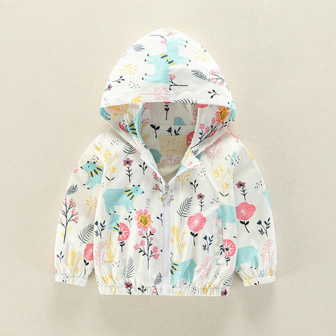 Cartoon Flower Bear Print Hooded Zipper Jacket