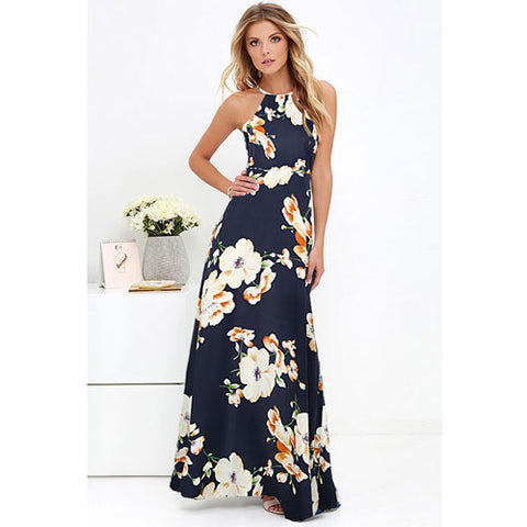 Floral Sleeveless Summer Dress 2018 Beach Long Dress