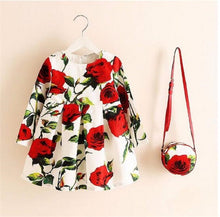 Floral Print Long Sleeve Christmas Dress 2019 with Bag