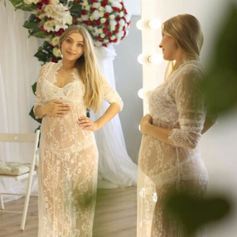 1465ee07755 Lace Maternity Dresses For Photo Shoot Elegant Maternity Clothes Pregnancy  Dress Photography Props Nursing Dress Sexy