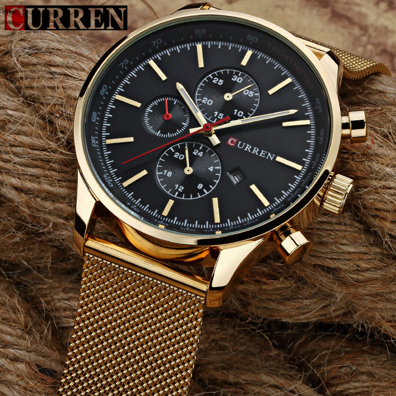 Tri-face Gold Alloy Analog Watch