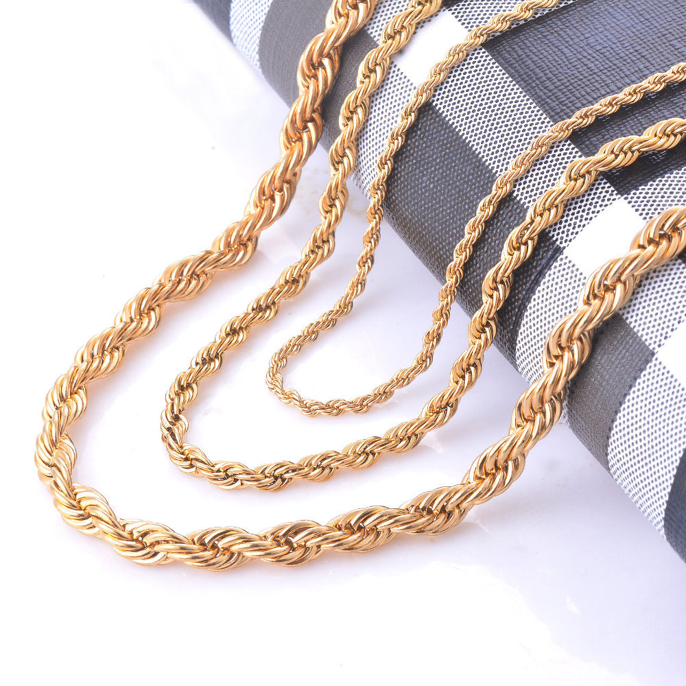 Twisted Rope Gold Chain Necklace