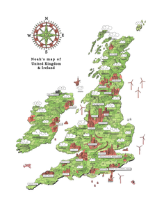 BESPOKE MAP OF UK & IRELAND (420 x 594 mm)