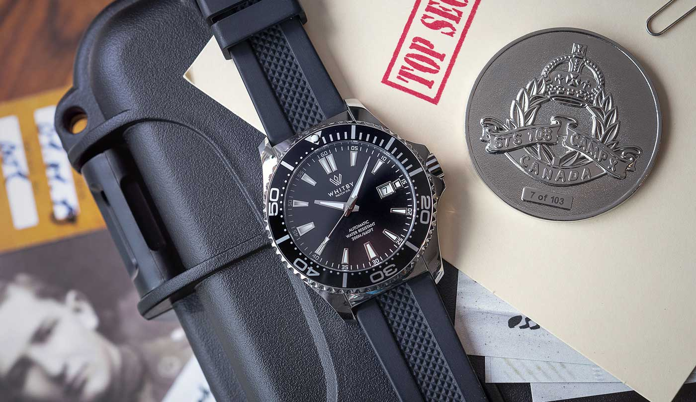 camp x, whitby watch co, intrepid dive watch