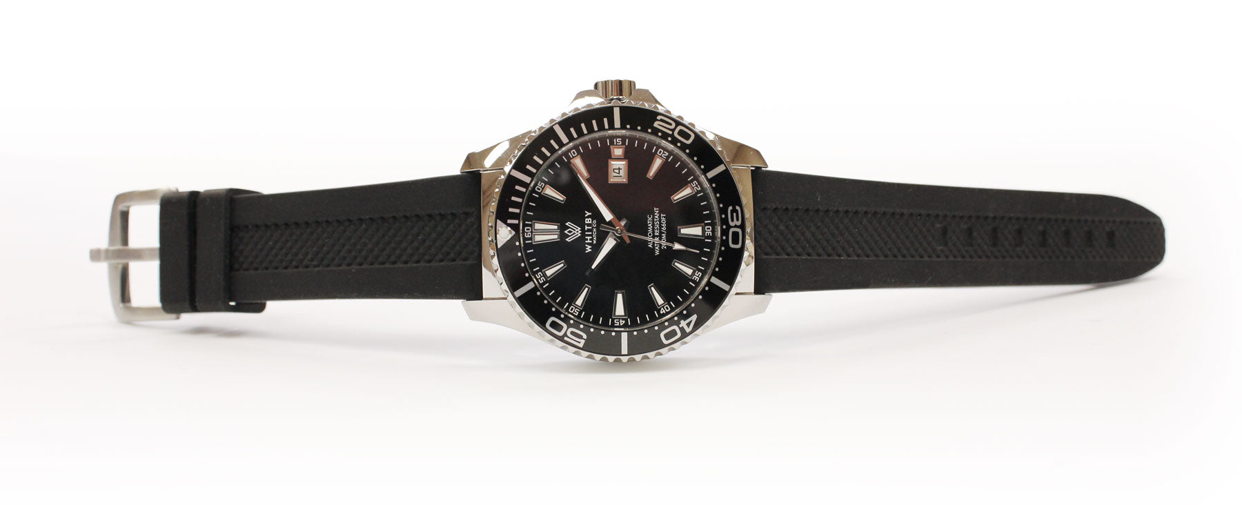 whitby watch co intrepid, silicon strap, luxury diver