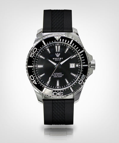 Intrepid 007 Diver Watch, Whitby Watch Co, Luxury watches, Canadian timepieces, watch, diver watch, Canada timepiece, super-luminova, Swiss movement, rubber strap