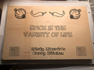 "Chopping Board ""SPICE IS THE VARIETY OF LIFE"", Black Waterproof Print"