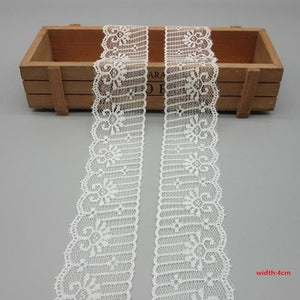 10 Yards White Lace Ribbon Tape (40MM Wide) - stilyo