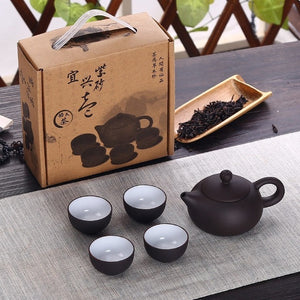 Soffe Purple Sand Ceramic Chiness Kung Fu Teapot Set With 4 Mini Cup And 1 Pot Suitable For Home Office Tea Set Drinkware - stilyo