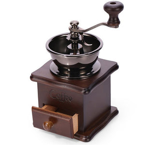 Wooden Antique Coffee Grinder - Retro Style With Stainless Steel - stilyo