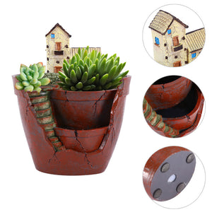Planter Flower Plant Pots Fairy Garden Pot with Sweet House- Brown