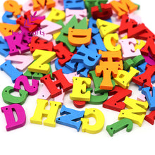Natural/Colorful Wooden Letters With Holes - 100pcs 14.5mm - stilyo
