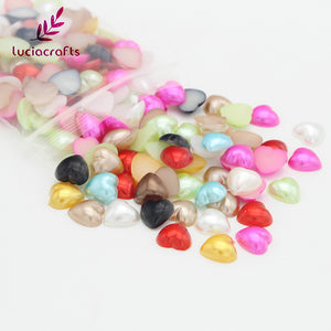 10mm Flatback Heart Shaped ABS Beads - stilyo