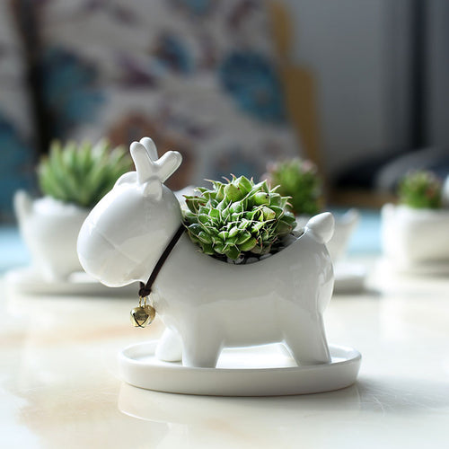 Deer Shaped Ceramic Planter