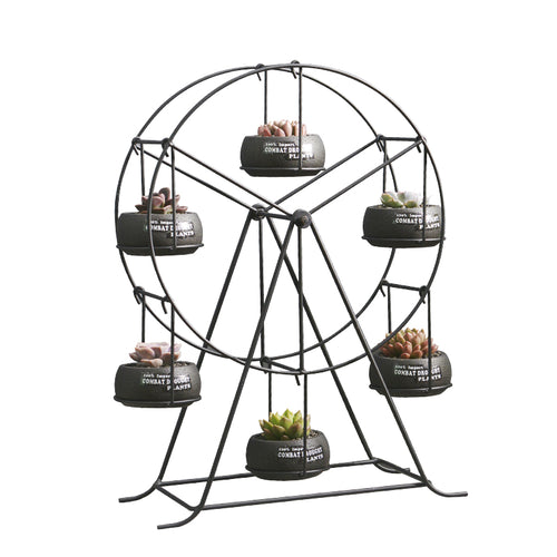 Ferris Wheel-stand with 6 Cement Succulent Plant Pots